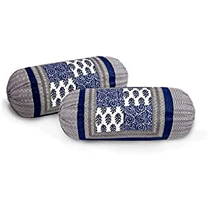 Sanganeri cart Pure Cotton Printed bolsters Covers Pack of 2