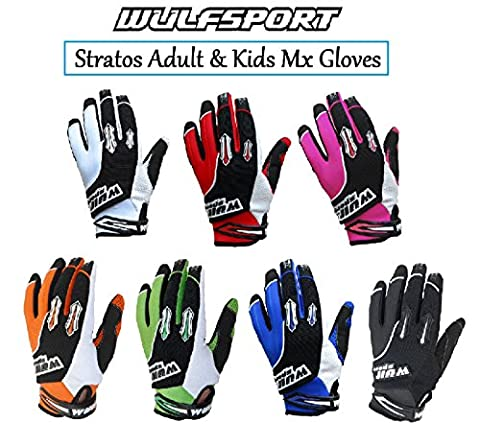 WULFSPORT STRATOS MOTORBIKE ADULT & KIDS MX GLOVES Motocross Sports Off Road Trials Enduro Quad Kart Dirt Bike Cycle ATV MTB BMX Race Adult & Junior Gloves - Blue - S