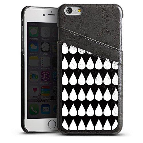 Apple iPhone 5s Housse Outdoor Étui militaire Coque Noir et blanc Gouttes Motif Étui en cuir gris
