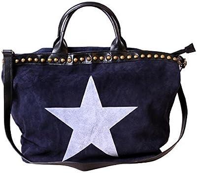 XL Bolso Hombro Para Mujer Shopper Bandolera Bag Funda Piel-Bolso para mujer bolso de mano bolso azul estrella