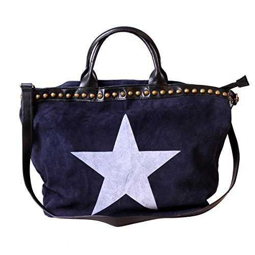 XL Sac à main Femmes Sac En Bandoulière Shopping Sac à bandoulière sac Cuir Sac femmes Sac à main pour femmes Sac à anses Bleu étoile