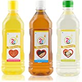 2 Me Virgin Trial Combo Peanut Oil, Sesame Oil And Coconut Oil, 1500 Ml (Combo Of 3)