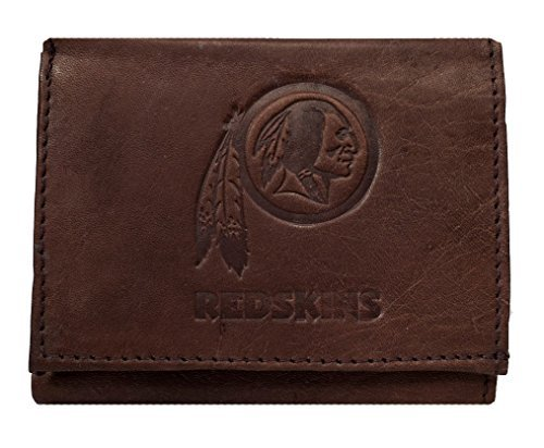 Washington Redskins Embossed Logo Dark Brown Leather Trifold Wallet by Rico
