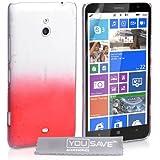 Yousave Accessories Coque Nokia Lumia 1320 Etui Rouge / Clair Dur Goutte De Pluie Housse