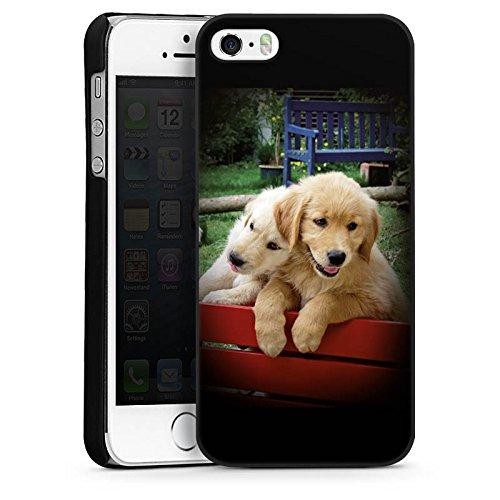 Apple iPhone 5 Housse Étui Silicone Coque Protection Golden Retriever Chiots Chien CasDur noir