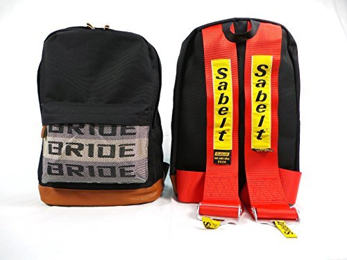 Bride JDM Racing Backpack Racing Harness Shoulder Straps Zipper Pockets w Padded Computer Compartment (Sabelt Res Straps) by FatCatRacingProducts