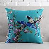 Znyo Polster Birdie Blumenmuster Couch Kissen Büro Nickerchen halten Kissen Nachttisch gehobenen Taille Kissen Rückenpolster (Kapazität: einschließlich Kissenkern, Größe: 45 * 45cm)