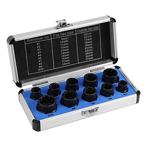 Mutternausdreher, Stecknuss 9-19 mm, Ausdreher-Set 10-teilig, zum Ausdrehen Beschädigter Bolzen Muttern Schrauben, Ausdreh-Werkzeugset, Others -