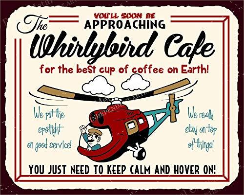 Whirlybird Cafe Vintage Retro Helikopter Blechschilder Vintage Look