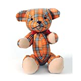HAB & GUT (UD005V-D Teddybär MALTE, Popart Teddy, Stofftier Glencheck-Muster orange, weiß, schwarz, 19 cm
