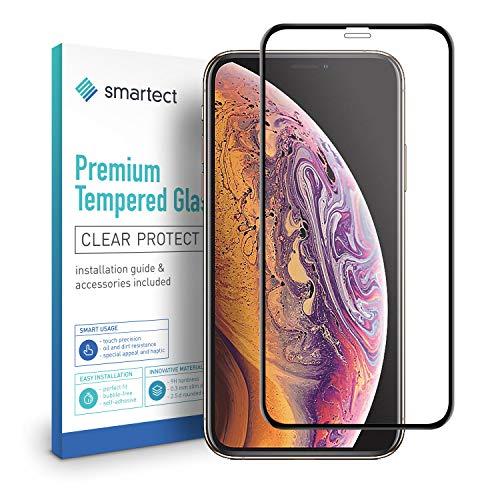 smartect [3D Curved | Negro] Protector de Pantalla de Cristal Templado para iPhone XS MAX Lámina Protectora Ultrafina de 0,3mm | Vidrio Robusto con Dureza 9H y Antihuellas Dactilares