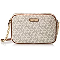 Michael Kors Jet Set Travel Logo Crossbody Bag for Women-Vanilla
