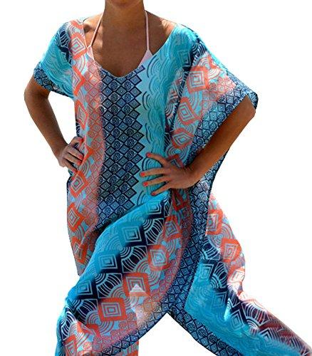 DELEY Donne Chiffon Robe Spiaggia Lungo Abito Costume Da Bagno Bikini Copricostume L'Abbigliamento Da Spiaggia Blu