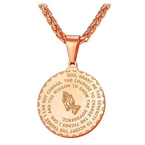 U7 Runde Betende Hände Anhänger Halskette Rosegold plattiert Vaterunser Kreuz Bibel Gebet Christentums Schmuck mit 55cm Kette, Rosegold-Ton