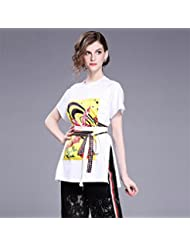 Heart&M de las mujeres de cuello redondo suéter de manga corta casual de Split vendaje impresión camiseta tops . white . f