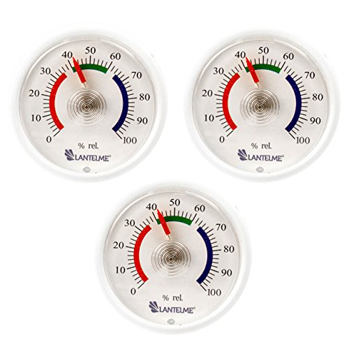 Lantelme 6307 Mini Hygrometer, 3 Stück Set mit Analoger Feuchtigskeitsanzeige über Bimetall Federelement