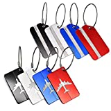 Touch Life 8 Pcs Aluminum Air Plane Pattern Travel Luggage Bag Tags,Baggage Handbag ID Tag Name Card Holder with Key Rin