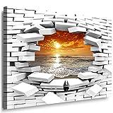 JULIA-ART 147wl2 S - Format 60 - 50 cm Bild auf Leinwand Meer - Sonnenuntergang 3D Illusion Mauer Loch Wand Deko ideen - Natur, Landschaft Bilder