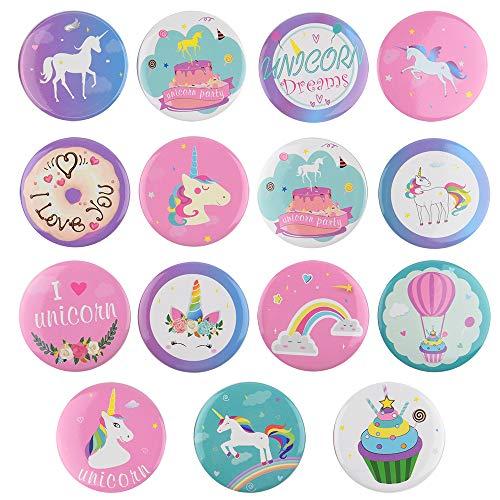 nhorn Buttons Einhorn Geburtstag Mädchen Set, Einhorn Party Favors Einhorn Thema Party Supplies ()
