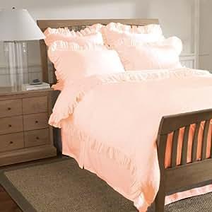Beautiful Offer 100% Egyptian Cotton Edge Ruffle Duvet Set UK SUPER KING Size Peach Solid
