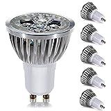 GreenSun 5 Stück GU10 4W LED Spots Lampe Warmweiß 2700K Ersetzt 30W Gluhlampe Leuchtmittel 100% Aluminum Reflektor Gehäuse LED Strahler AC 220V
