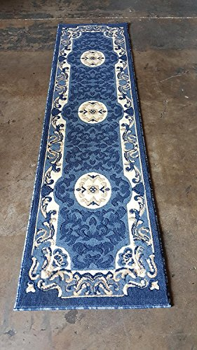Carpet King Traditionelle Bereich Teppich Blau Design 101 (9ft2in. X12Ft. Großes.) 2 Feet X 7 Feet 3 inch Blau