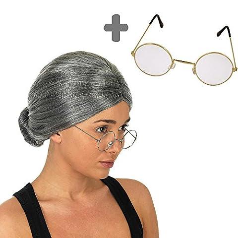 German Trendseller® perruque de grand-mère avec lunette┃accessoire de carnaval┃ cheveux gris┃déguisement mamie de Petite Chaperon Rouge ┃set