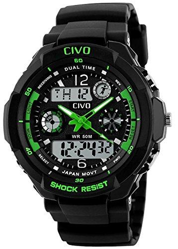 Herren Jungen Digitale Uhren 50M Elektronisch Wasserdicht Militärische Sportuhr Einfache Mode Design LED Taucheruhr für Männer Großes Gesicht Elektronik Licht Analoge digitale Armbanduhr Schwarz