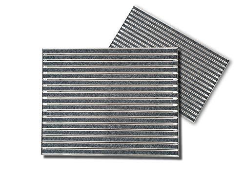 SWmat Aluminium Fußabstreifer für außen und innen | Fußmatte mit hoher Reinigungswirkung | Fußmatten für Haustüren (60 x 80 cm) | Mit Einbaurahmen | Premium Qualität (Stein, 60 x 80 cm)