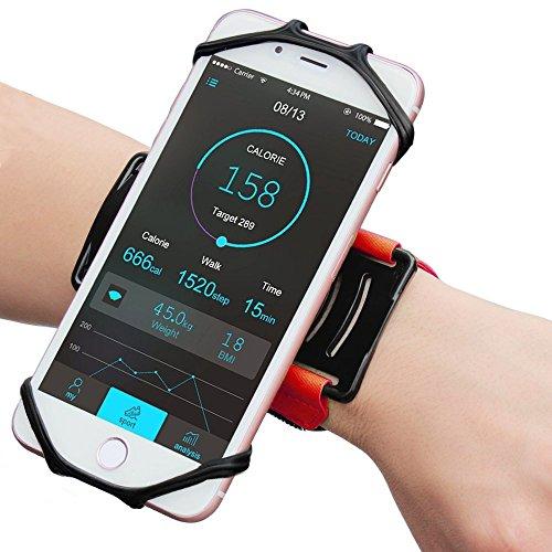 """AXELENS Universal Sportarmband für 4\"""" bis 6\"""" Zoll Smartphones - 180° Drehbar Handgelenk Handytasche für Joggen Laufen Radfahren Wandern - rot"""