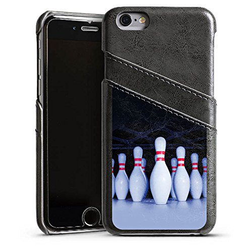 Apple iPhone 5s Housse Étui Protection Coque Bowling Pins Strike Étui en cuir gris