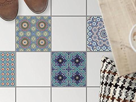 Carrelage adhesif au sol | Enjolivement de appartement - Mosaique sol | Motif Mosaïque Orientale | 20x20 cm - 4 pièces (2x2)
