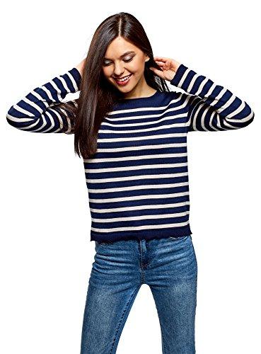 oodji Ultra Damen Gestreifter Pullover mit O-Förmigem Ausschnitt, Blau, DE 34 / EU 36 / XS (Gestreifter Pullover)