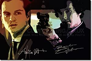 "BENEDICT CUMBERBATCH AND ANDREW SCOTT ORIGINAL ART PRINT ""THE VILLAIN"" - WITH SIGNED AUTOGRAPH REPRODUCTION - SHERLOCK BAD GUY - 12x8 A4 GLOSSY POSTER GIFT"
