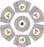 Homcomodar PVC Keil geformt Tischsets 6 Stück und 1 Stück Runde Tischsets für Esstische Wärmedämmung Tischset Set von 7 (Silber-grau)