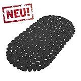 Schwarze Anti Rutsch Matte für die Badewanne - Wanneneinlage mit Saugnäpfen - Schadstofffreie Wannenmatte in schöner Kieseldekor Steinoptik - Größe: 68 x 35cm
