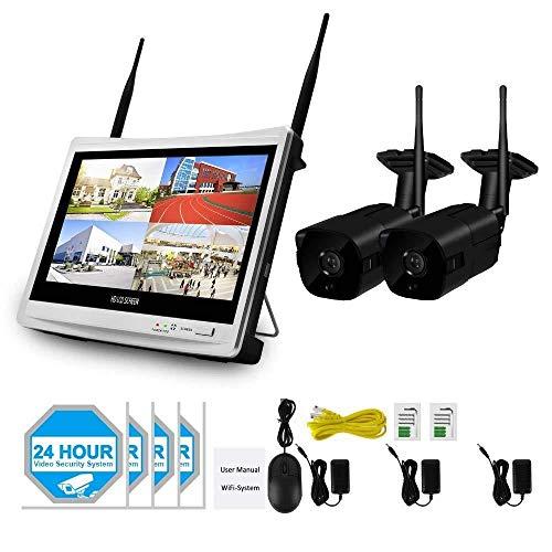 XINCH-MONITOR 1080p-HD-Ausgabe NVR CCTV-Sicherheitssystem WiFi Video Surveillance Kit Recorder Wireless-LCD-Monitor im Freien Wohnen + 2TB Festplatte Datenträger (2/4/6/8 CH) -