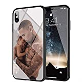 yinzongstore iPhone 7 Coque, iPhone 8 Coque, Pare-Choc Souple en Silicone avec Coque arrière en Verre trempé Compatible avec iPhone 7/8 AMB-13 Chris Brown