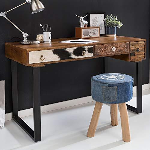 FineBuy Schreibtisch Kanpur 120 x 60 x 79 cm Massiv Holz Laptoptisch Mango Natur | Landhaus-Stil Arbeitstisch mit Schubladen | Bürotisch PC-Tisch (Mango-holz-tisch)