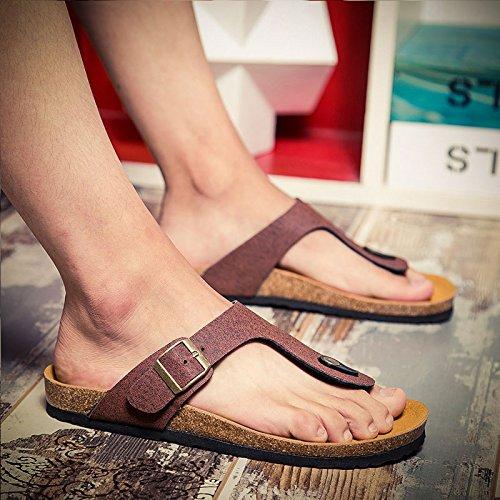 cork pantoufles antidérapantes, les hommes s beach de tongs, les pieds des sandales, pantoufles Brown