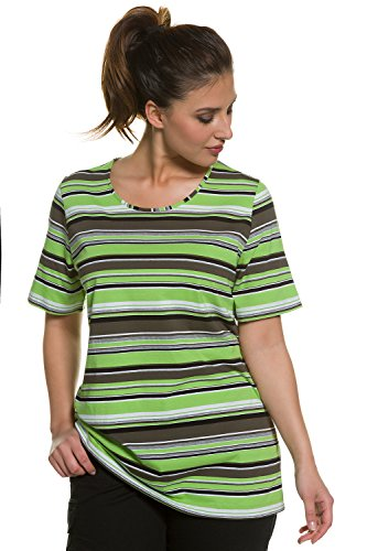 Ulla Popken Damen große Größen Femme Grandes tailles T-shirt Imprimé rayures basique et tendance 706533 Apfelgrün