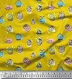 Soimoi Gelb Kunstseide Stoff Cupcakes Lebensmittel Stoff drucken 1 Meter 56 Zoll breit