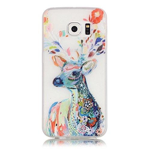 CaseHome Samsung Galaxy S6 Edge Luminous Hülle (Mit Frie Displayschutzfolie) Leuchtende Silikone Rückhülle Für iPhone 6 6s Plus 5.5 Zoll Zoll Silikon Etui Handy Hülle Weiche Transparente Luminous TPU  Aquarell Hirsch