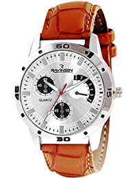 Ravinson 3801SL03 Silver Dial Leather Strap Analogue Casual Wrist Watch For Men