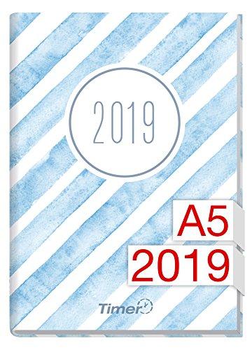 Chäff-Timer Classic A5 Kalender 2019 [Aquarell-Streifen] 12 Monate Jan-Dez 2019 - Terminkalender mit Wochenplaner - Organizer - Wochenkalender