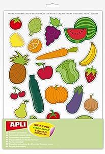 APLI Pochette 12 feuilles gommettes Les fruits et légumes