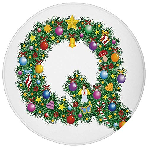 Round Rug Mat Carpet,Letter Q,Religious Holiday Composition with Alphabet Q with Various Tree Elements Colorful Decorative,Multicolor,Flannel Microfiber Non-slip Soft Absorbent,for Kitchen Floor Bathr (Alphabet Jungle-teppich)