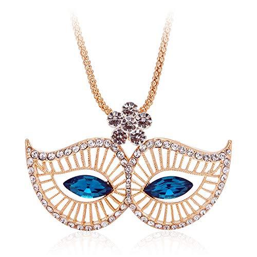 JMZDAW Halskette Anhänger Neue Legierung Maske Kristall Anhänger Lange Halskette Weibliche Langlauf Pullover Kette Zubehör