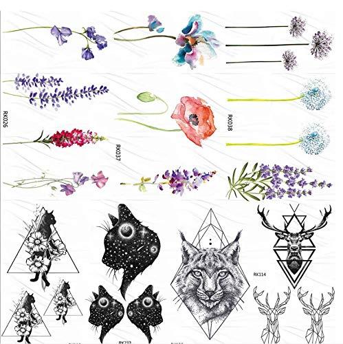 ruofengpuzi Rose Blume Lavendel Tätowierung Aufkleber Custom Tattoo Sweet PEA Body Art Arm Gefälschte Tätowierung Aufkleber Damen Make-Up Wasserdicht