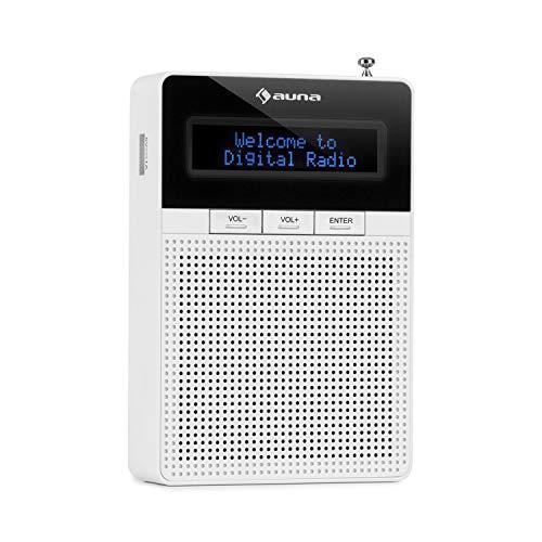 auna DigiPlug DAB • Steckdosen-Radio • DAB+ Radio mit RDS • UKW/PLL Tuner • Bluetooth • USB-Port • LCD-Display • mit integriertem Breitbandlautsprecher • weiß